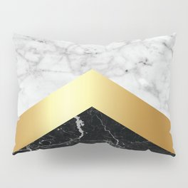 Arrows - White Marble, Gold & Black Granite #147 Pillow Sham