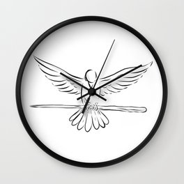 Soaring Dove Clutching Staff Front Drawing Wall Clock