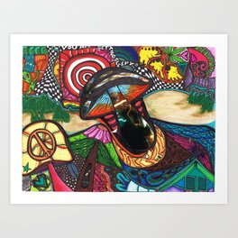 Mushroomssss and Dunes Art Print
