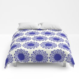 vintage flowers blue  Comforters
