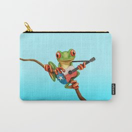 Tree Frog Playing Acoustic Guitar with Flag of Texas Carry-All Pouch