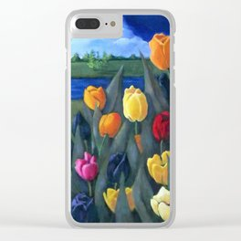 Dutch Tulips, Bright Colorful Flower Painting Clear iPhone Case