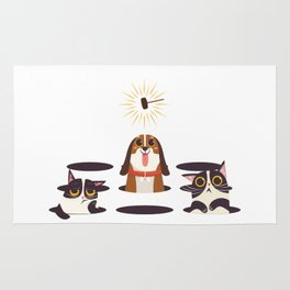 Cute Cats Dogs on Sunny Day Rug
