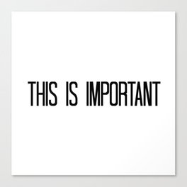 This is Important Canvas Print