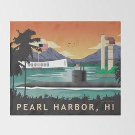 Pearl Harbor, HI - Retro Submarine Travel Poster Throw Blanket