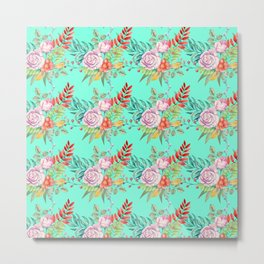 Country chic pink red aqua watercolor floral Metal Print