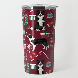 Border Collie christmas stockings presents holiday candy canes dog breed pattern Travel Mug