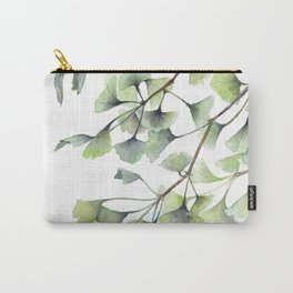 Mint Green Ginkgo Leaves and Green Goldfish Watercolor Design Carry-All Pouch