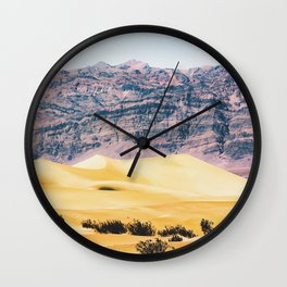 sand desert with mountain background at Death Valley national park, USA Wall Clock