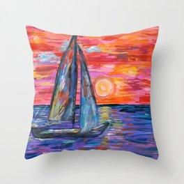 Sail at Dusk Throw Pillow