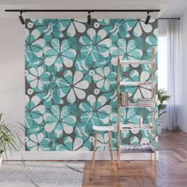Turquoise Floral Wall Mural