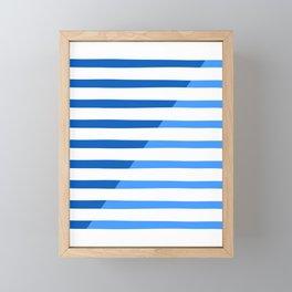 Beach Stripes Blue Framed Mini Art Print