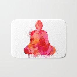 Red Buddha Watercolor art Bath Mat
