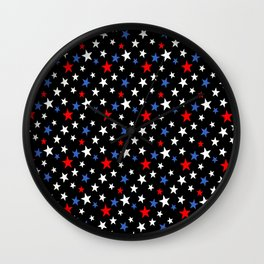 Bold Patriotic Stars In Red White and Blue on Black Wall Clock