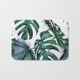 Tropical Palm Leaves Classic on Marble Bath Mat