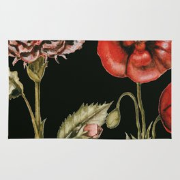 Carnation & Poppy on Charcoal Rug