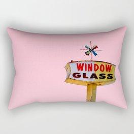 Atomic Pink Starburst - Vintage Googie-Style Sign with Pink Background Rectangular Pillow