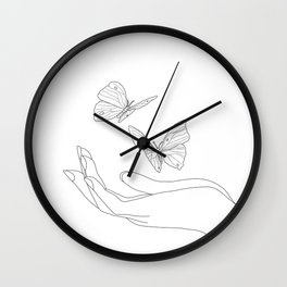 Butterflies on the Palm of the Hand Wall Clock