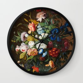 Flower Still Life with Bird's Nest, 1853 Wall Clock