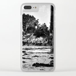 Bridge over the beach with texture Clear iPhone Case