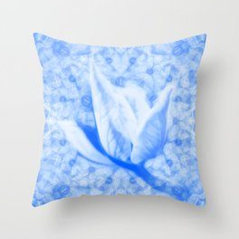 Abstract Bauhinia flower in blue Throw Pillow