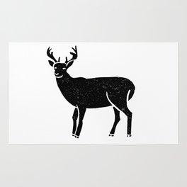 Buck deer antlers portrait minimal black and white linocut printmaking art Rug