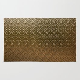 Metal golden texture embossed gold floral pattern Rug
