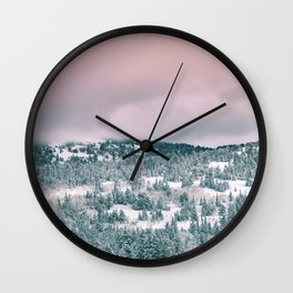 Blush Sky in Woodland Heights Wall Clock