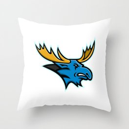 Bull Moose Head Mascot Throw Pillow