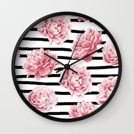 Simply Drawn Stripes and Roses Wall Clock