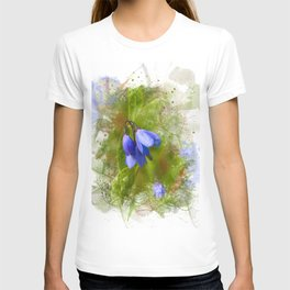 Pretty bluebells on white T-shirt
