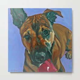 Chance the Terrier Mix Dog Portrait Metal Print