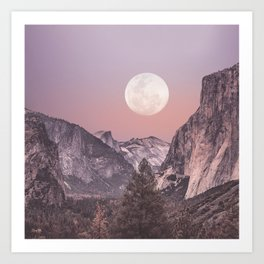 Pastel Full Moon Over Yosemite Park Art Print