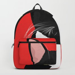 Tuxedo Cat Art Poster by Artist A.Ramos. Designed in Bold Colors. Perfect for Pet Lovers Backpack