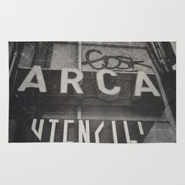 Bologna B&W Street Photography Vintage Shop Sign Rug