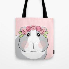 Adorable Grey Guinea Pig with Pink Rosebuds Tote Bag