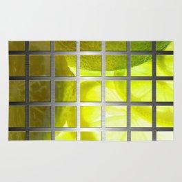Limes & Square Grid Collage Metallic Rug