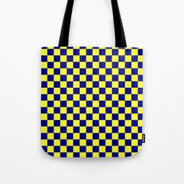 Electric Yellow and Navy Blue Checkerboard Tote Bag
