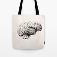 brain Tote Bags featuring Brain by Andreas Derebucha