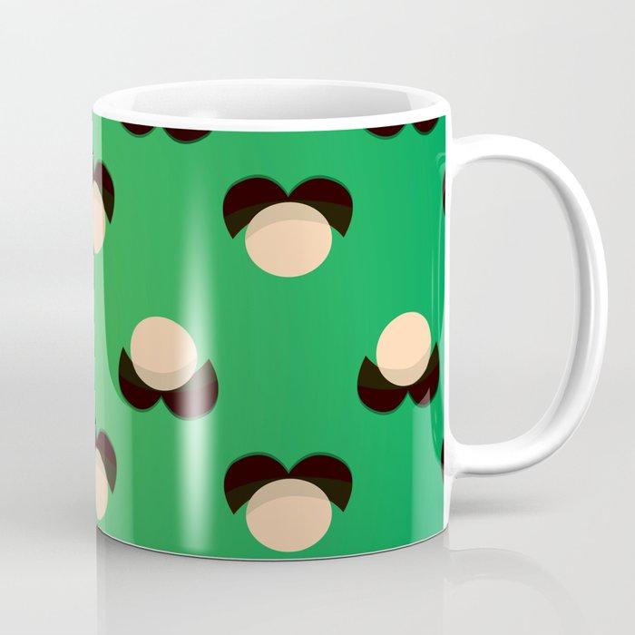 green mustache coffee mug by brunothethe society6