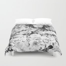 Black gray modern watercolor roses floral pattern Duvet Cover