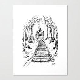 Wooden Railway , Pencil illustration Canvas Print