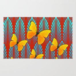YELLOW ART DECO BUTTERFLIES & CUMIN COLOR ART Rug