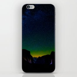 Starry Night Sky Stars Landscape Silhouette Colorful Green Turquoise Sky Ombre iPhone Skin