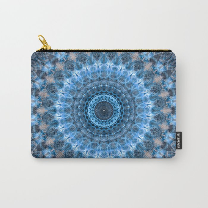 Digital mandala with light blue dominant. Carry-All Pouch