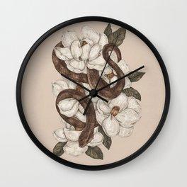 Snake and Magnolias Wall Clock