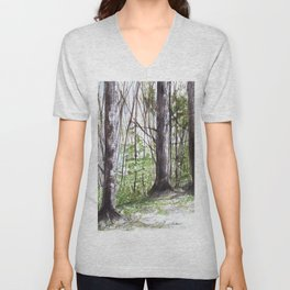 Woodland Trees in Vermont Illustration Nature Art Unisex V-Neck