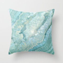 """Aquamarine Pastel and Teal Agate Crystal"" Throw Pillow"