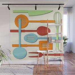 Kitchen Colored Utensil Silhouettes on Cream III Wall Mural