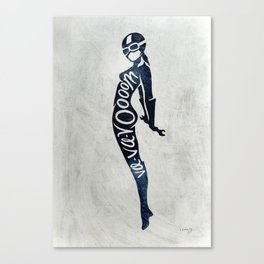 "Va-Va-Voom ""Lucy"" Motorcycle Pin Up Girl Canvas Print"